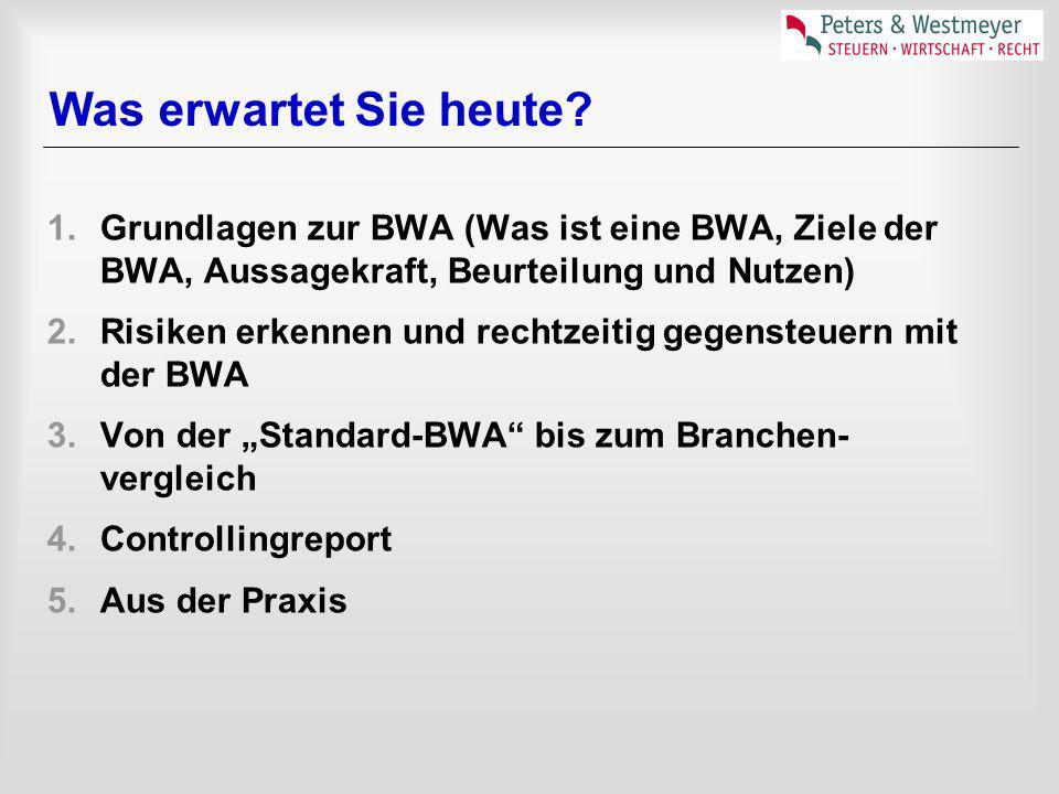 Was erwartet Sie heute Grundlagen zur BWA (Was ist eine BWA, Ziele der BWA, Aussagekraft, Beurteilung und Nutzen)