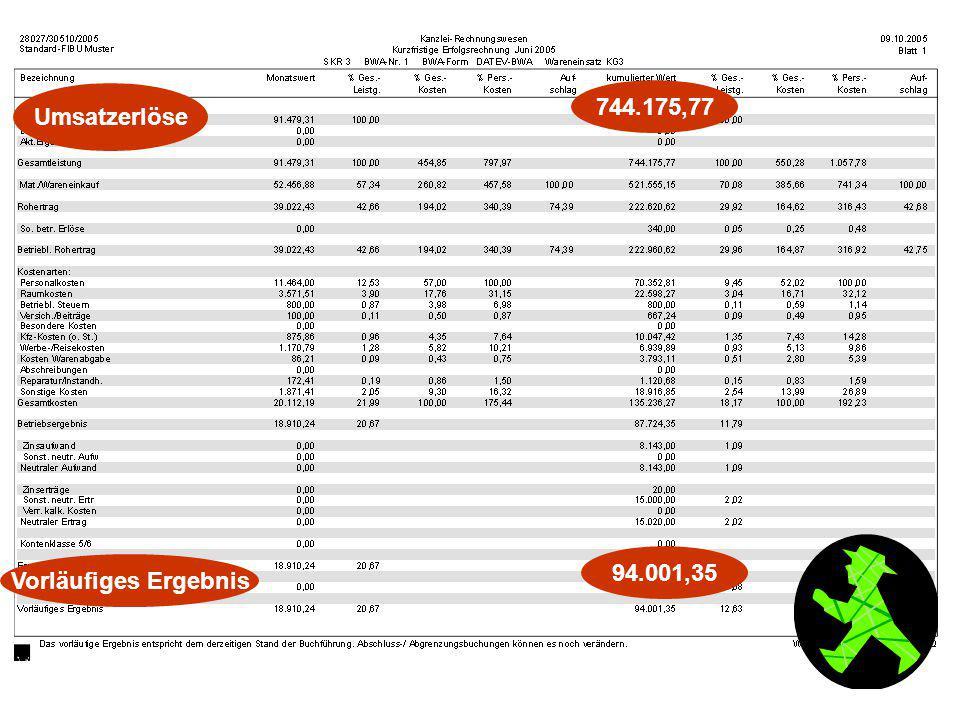 Umsatzerlöse 744.175,77 94.001,35 Vorläufiges Ergebnis