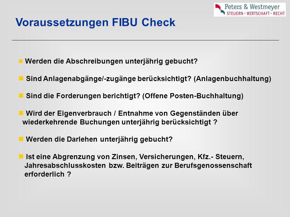 Voraussetzungen FIBU Check