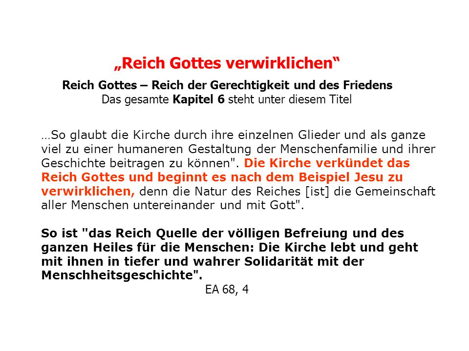 """""""Reich Gottes verwirklichen"""