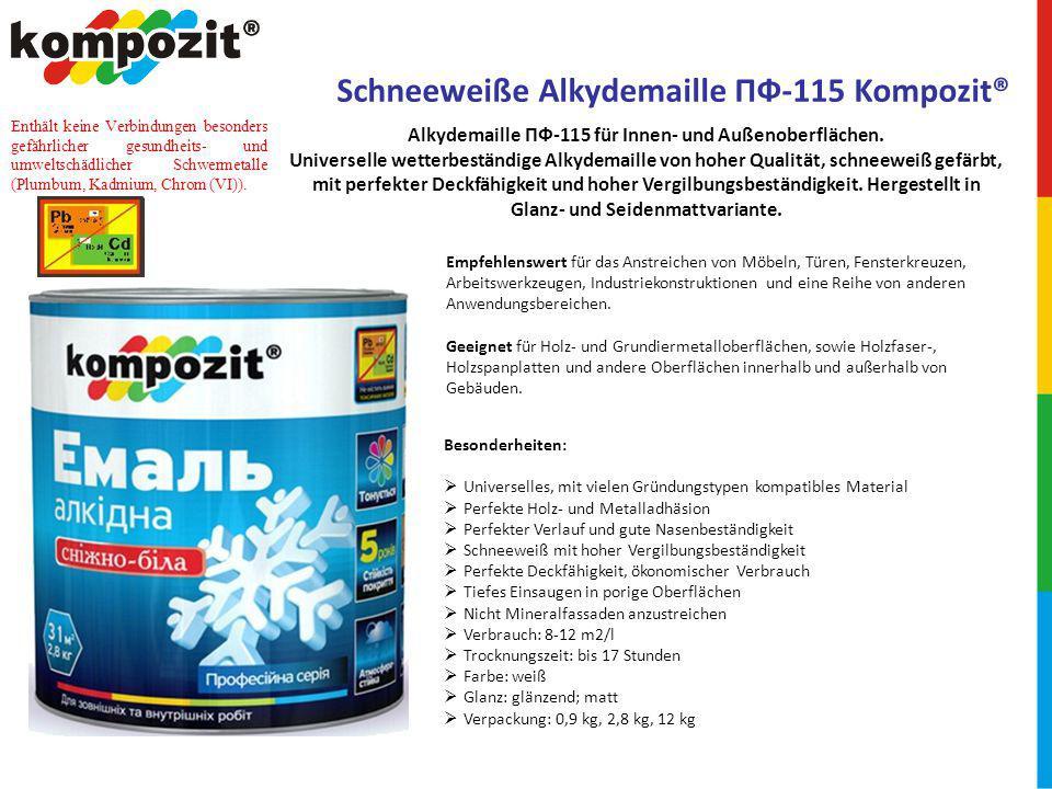 Schneeweiße Alkydemaille ПФ-115 Kompozit®