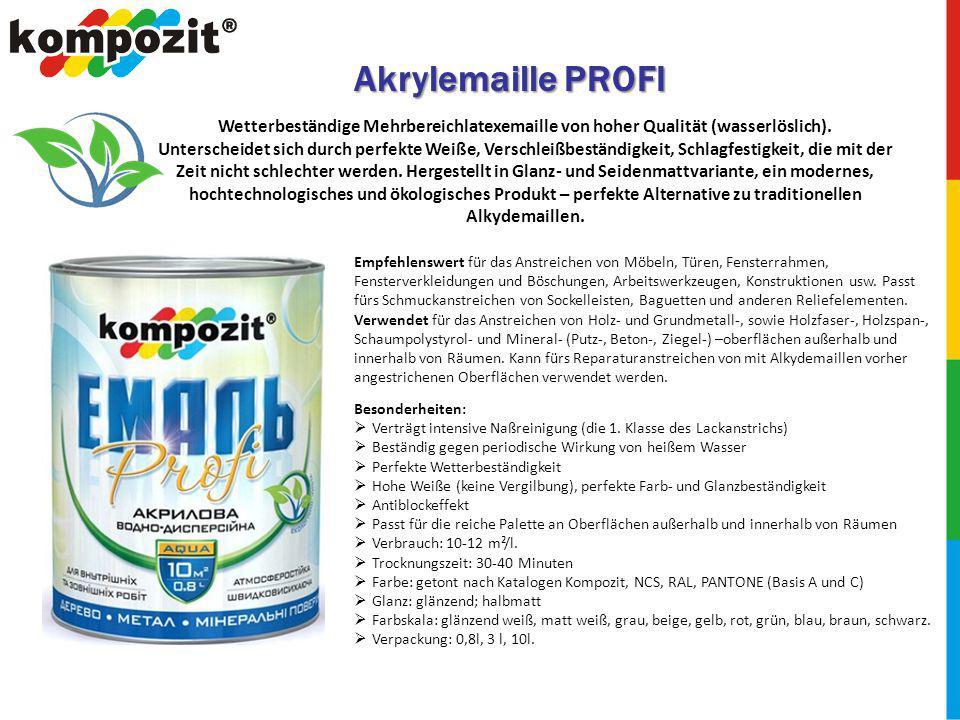 Akrylemaille PROFI Wetterbeständige Mehrbereichlatexemaille von hoher Qualität (wasserlöslich).