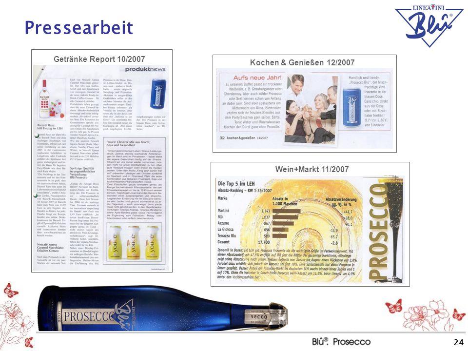 Pressearbeit Getränke Report 10/2007 Kochen & Genießen 12/2007
