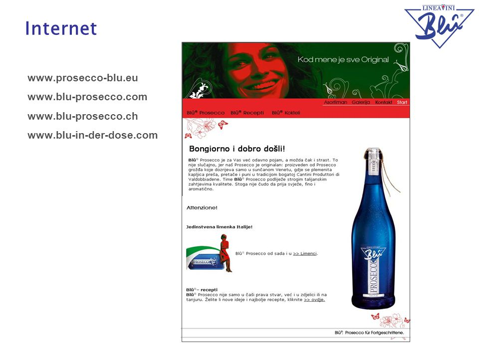 Internet www.prosecco-blu.eu www.blu-prosecco.com www.blu-prosecco.ch