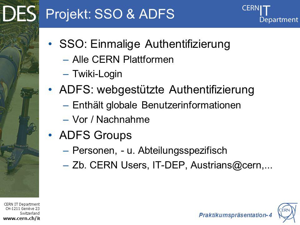Projekt: SSO & ADFS SSO: Einmalige Authentifizierung