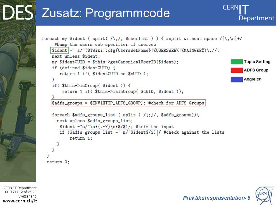 Zusatz: Programmcode Praktikumspräsentation- 6
