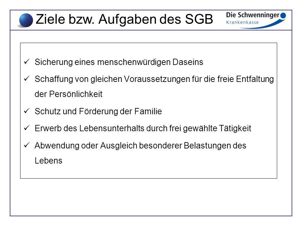 Ziele bzw. Aufgaben des SGB