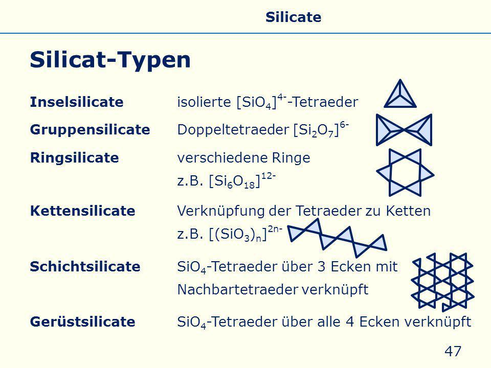 Silicat-Typen Allgemeines Eigenschaften Silicate Silicone Glas