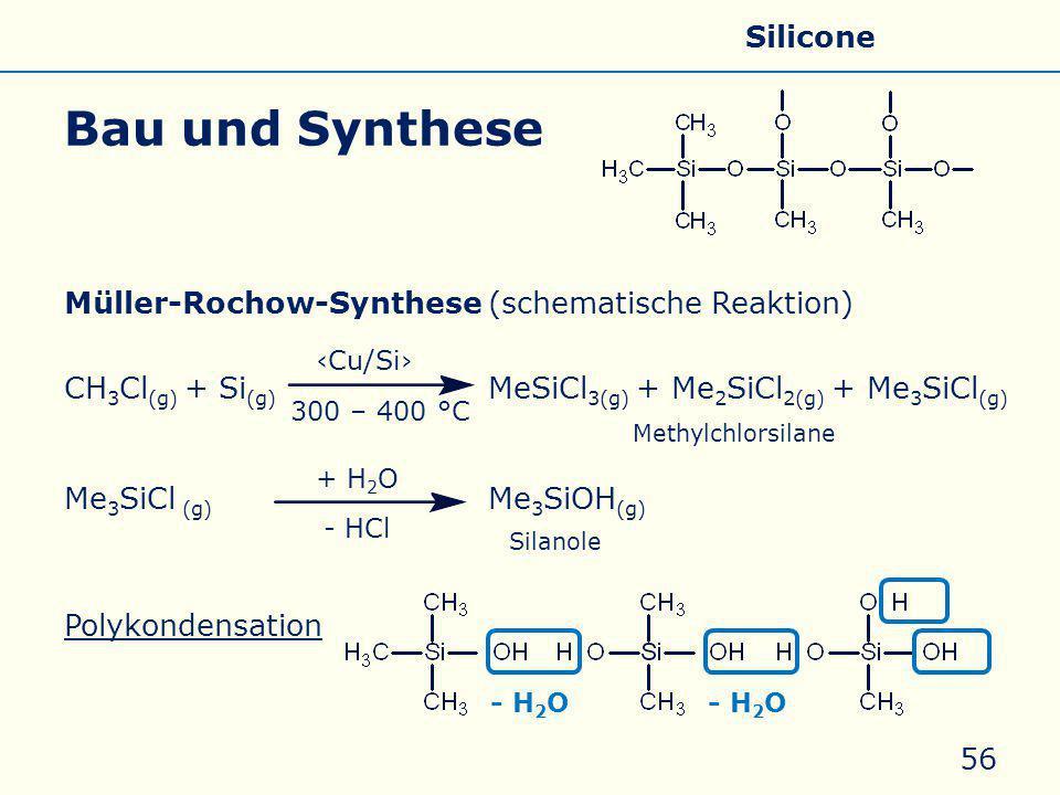 Bau und Synthese Allgemeines Eigenschaften Silicate Silicone Glas
