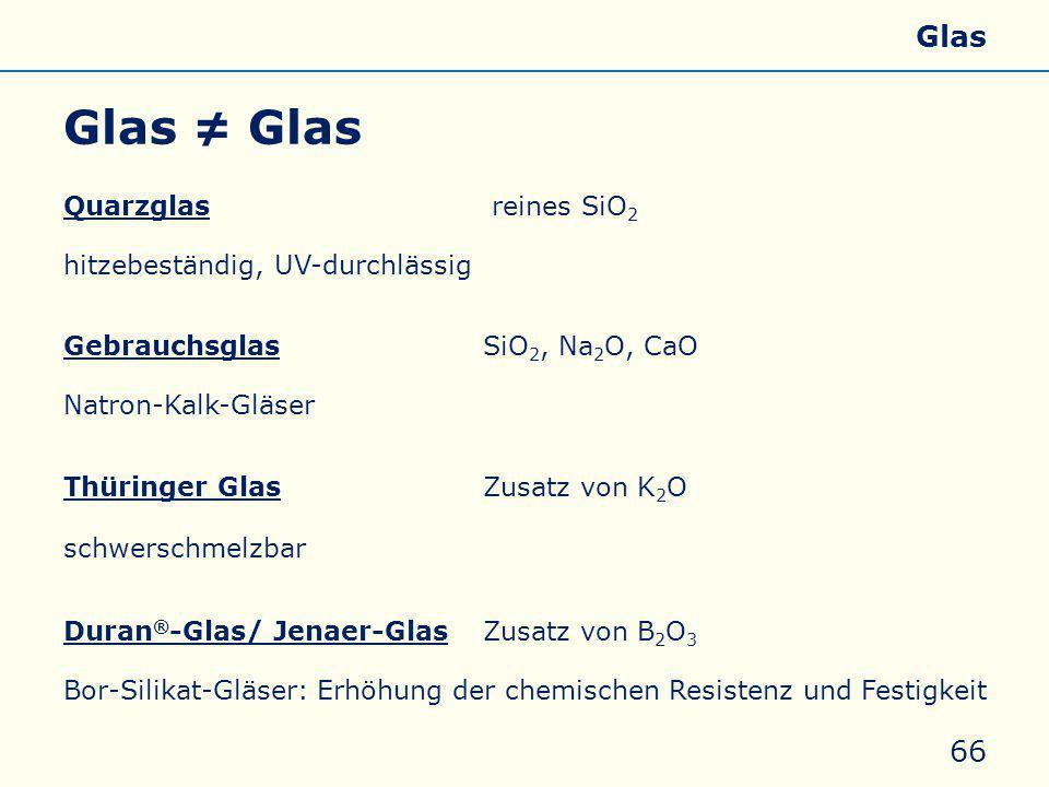 Glas ≠ Glas Allgemeines Eigenschaften Silicate Silicone Glas