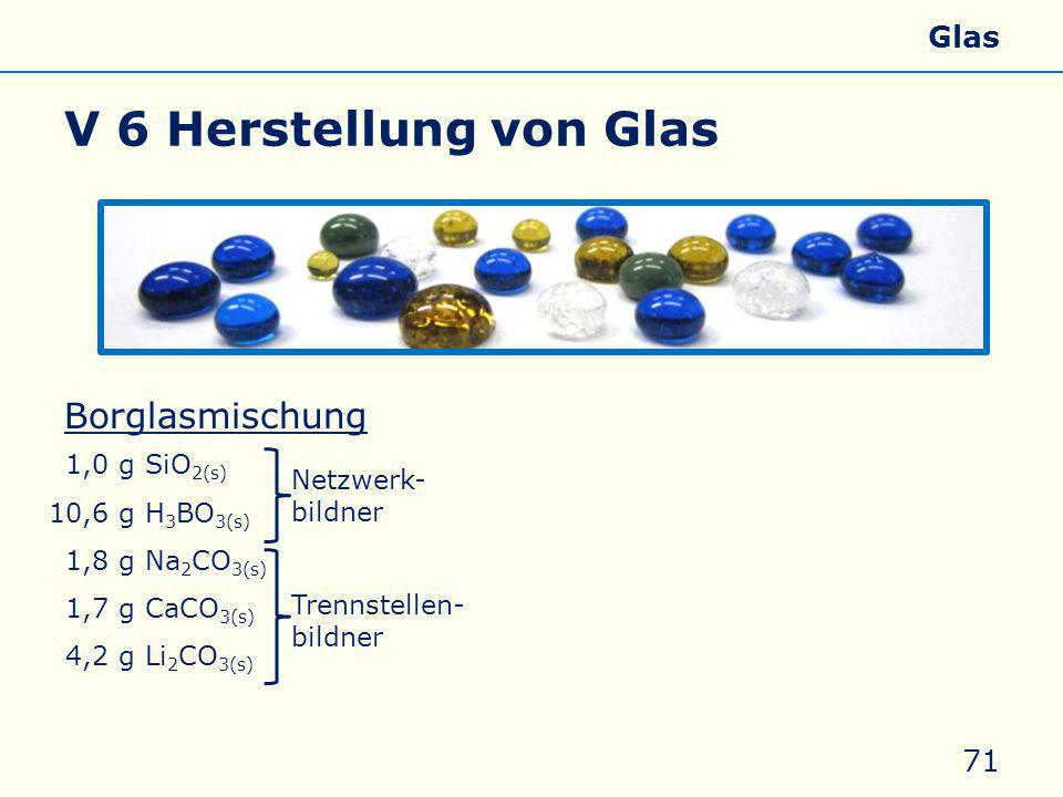 V 6 Herstellung von Glas Borglasmischung Zusätze