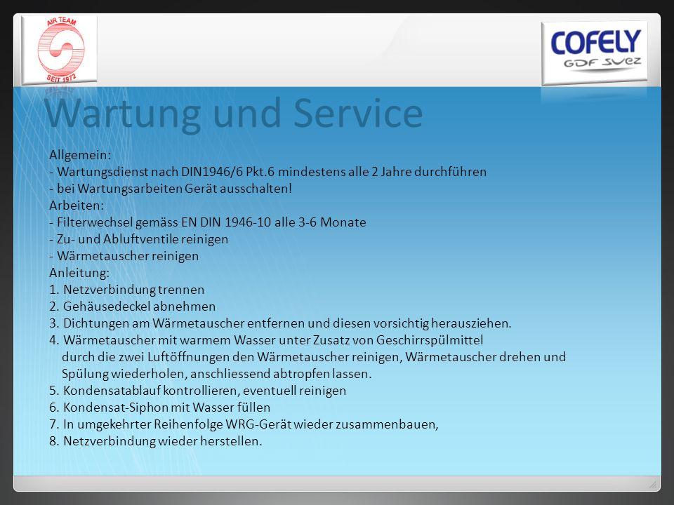 Wartung und Service Allgemein: