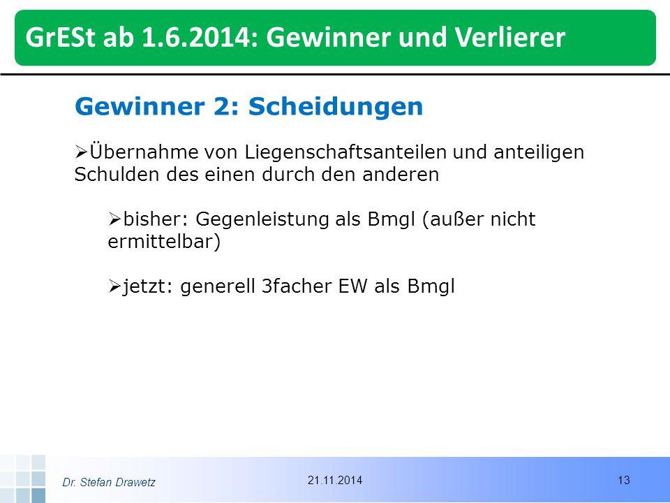 GrESt ab 1.6.2014: Gewinner und Verlierer