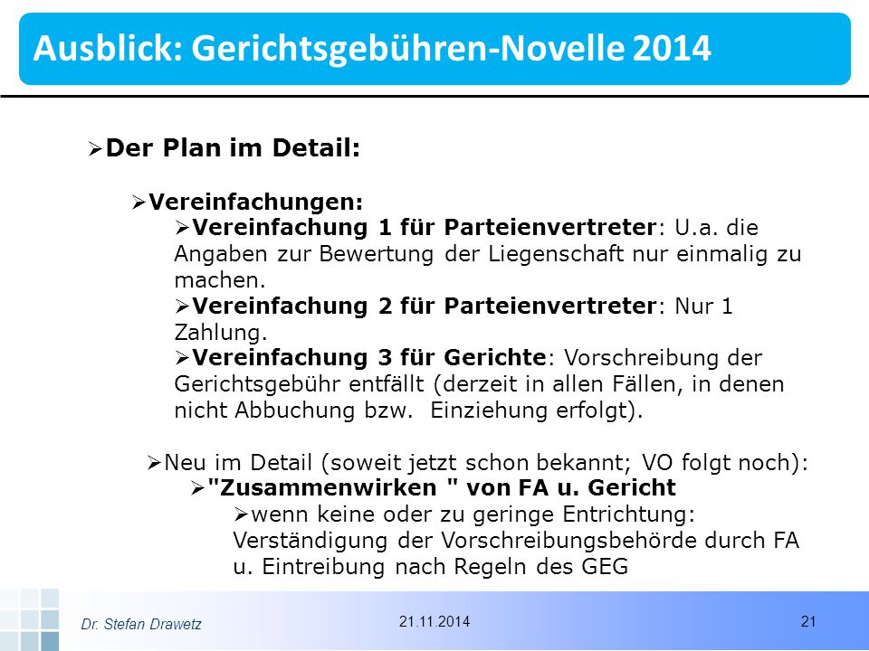 Ausblick: Gerichtsgebühren-Novelle 2014
