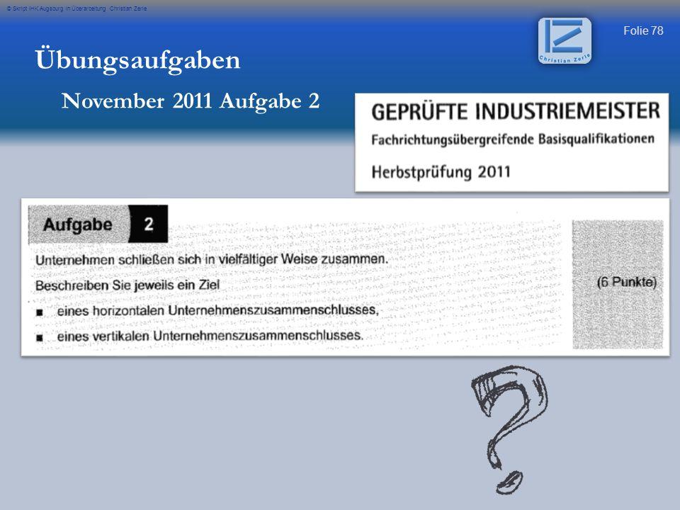 Übungsaufgaben November 2011 Aufgabe 2