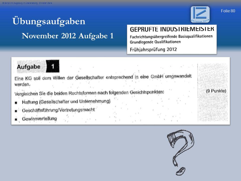 Übungsaufgaben November 2012 Aufgabe 1