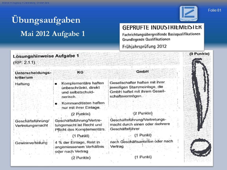 Übungsaufgaben Mai 2012 Aufgabe 1