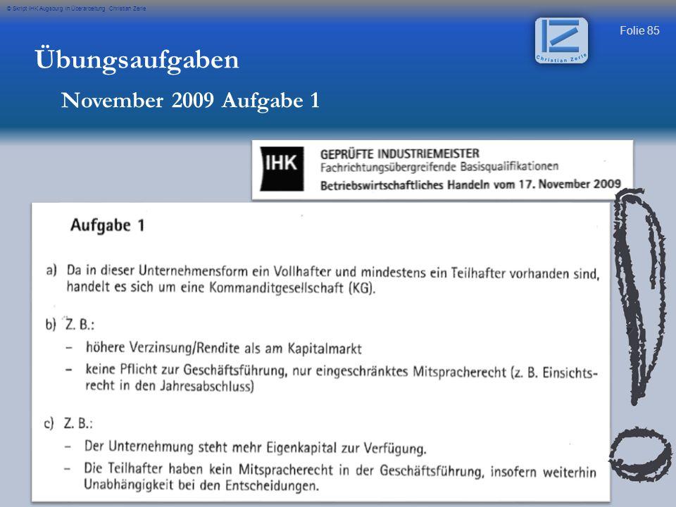 Übungsaufgaben November 2009 Aufgabe 1