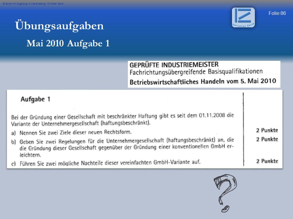 Übungsaufgaben Mai 2010 Aufgabe 1