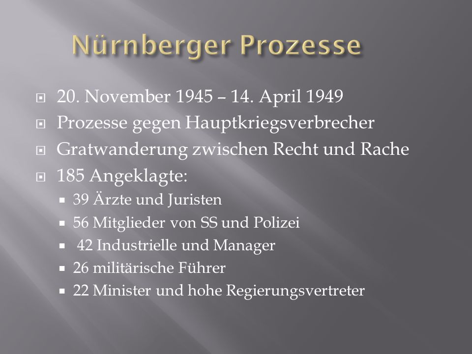 Nürnberger Prozesse 20. November 1945 – 14. April 1949