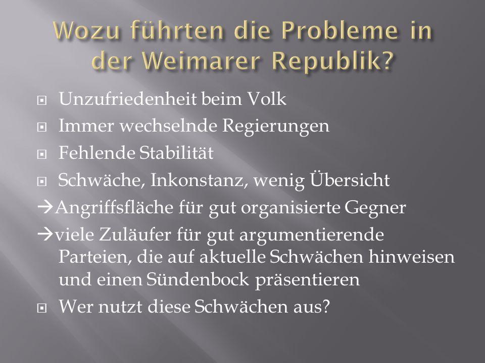 Wozu führten die Probleme in der Weimarer Republik