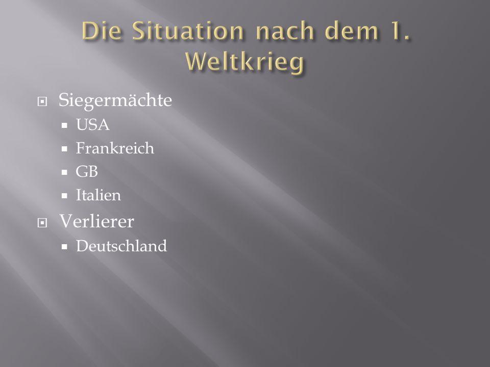 Die Situation nach dem 1. Weltkrieg
