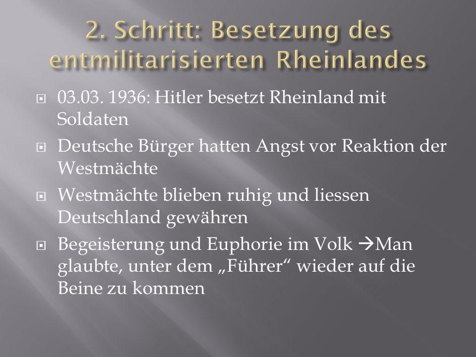2. Schritt: Besetzung des entmilitarisierten Rheinlandes