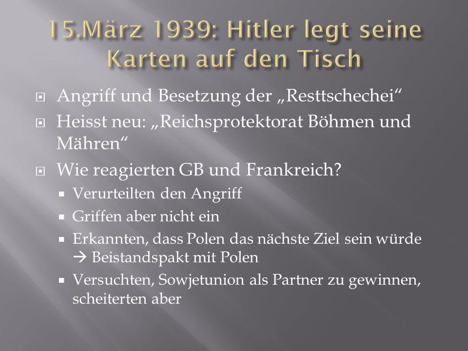 15.März 1939: Hitler legt seine Karten auf den Tisch