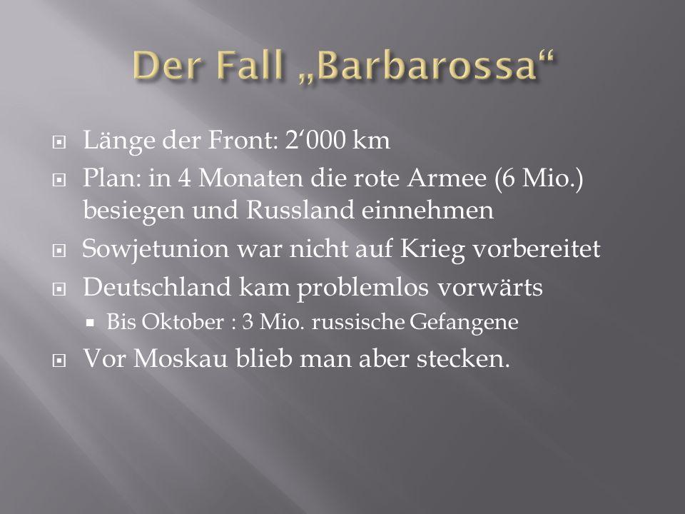 """Der Fall """"Barbarossa Länge der Front: 2'000 km"""