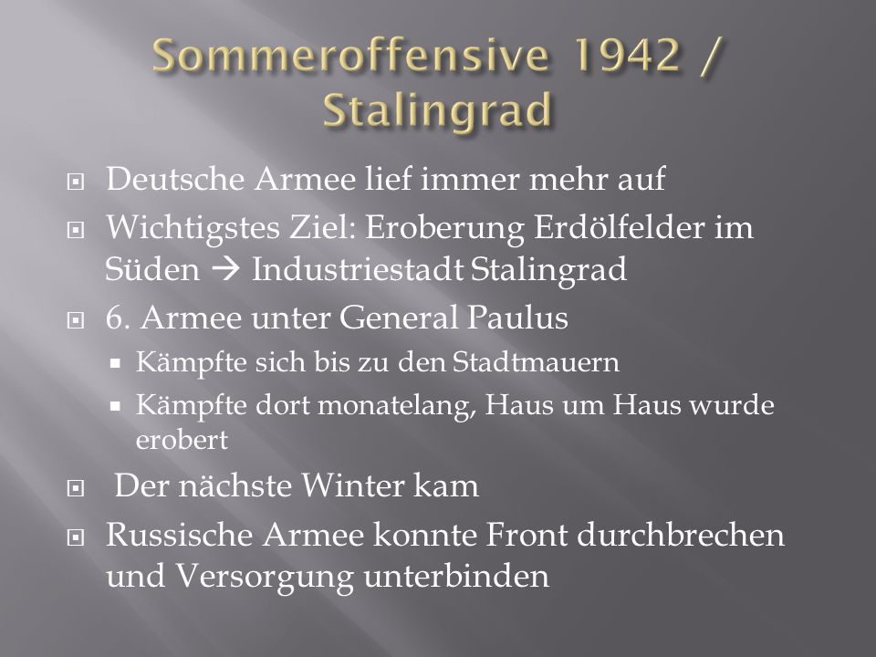 Sommeroffensive 1942 / Stalingrad