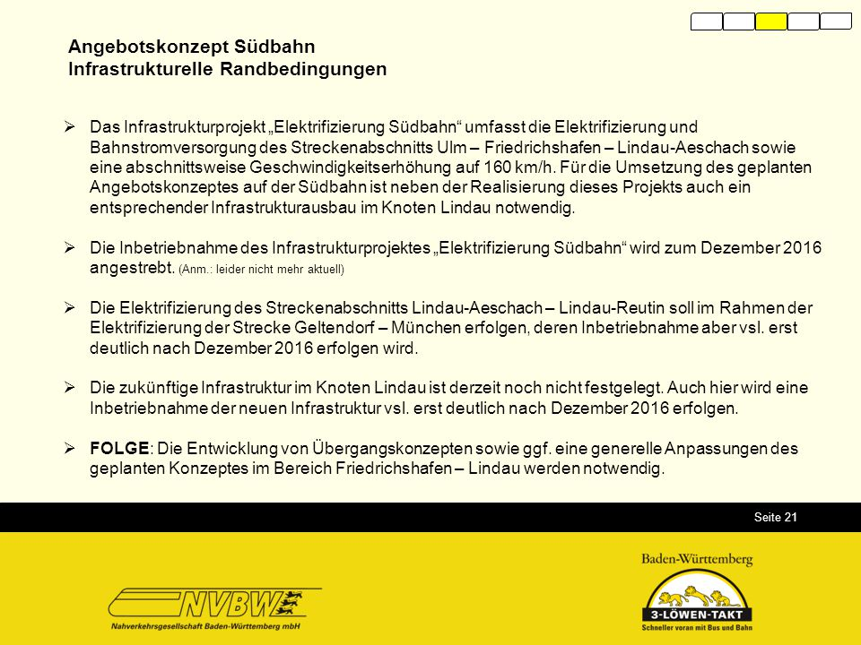 Angebotskonzept Südbahn Infrastrukturelle Randbedingungen