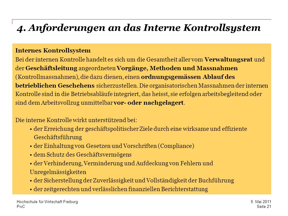 4. Anforderungen an das Interne Kontrollsystem
