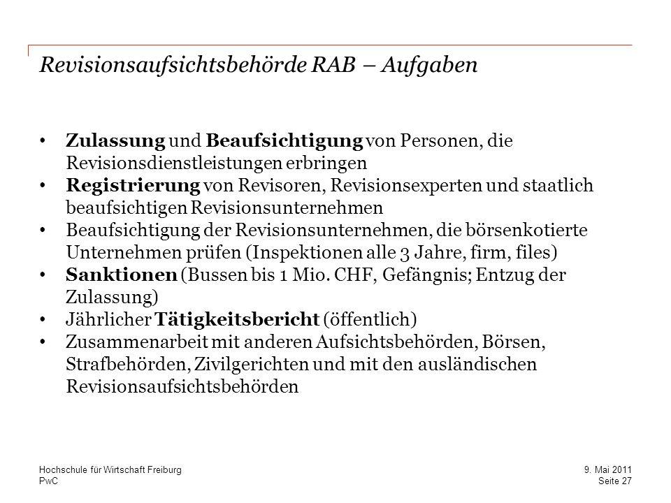 Revisionsaufsichtsbehörde RAB – Aufgaben