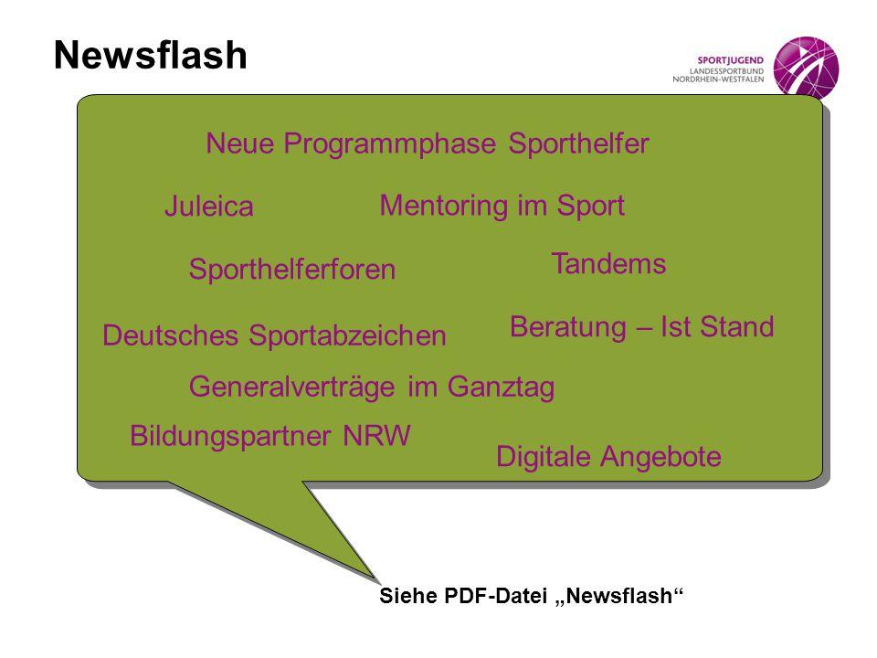 Newsflash Neue Programmphase Sporthelfer Juleica Mentoring im Sport