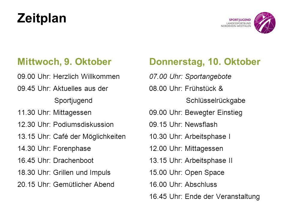 Zeitplan Mittwoch, 9. Oktober Donnerstag, 10. Oktober