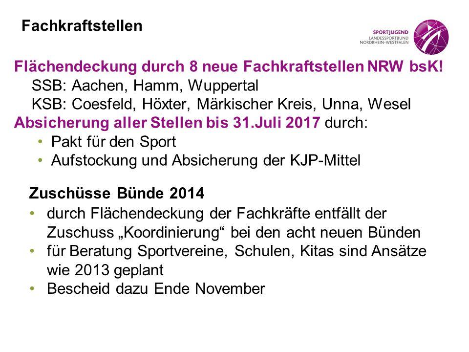 Fachkraftstellen Flächendeckung durch 8 neue Fachkraftstellen NRW bsK! SSB: Aachen, Hamm, Wuppertal.