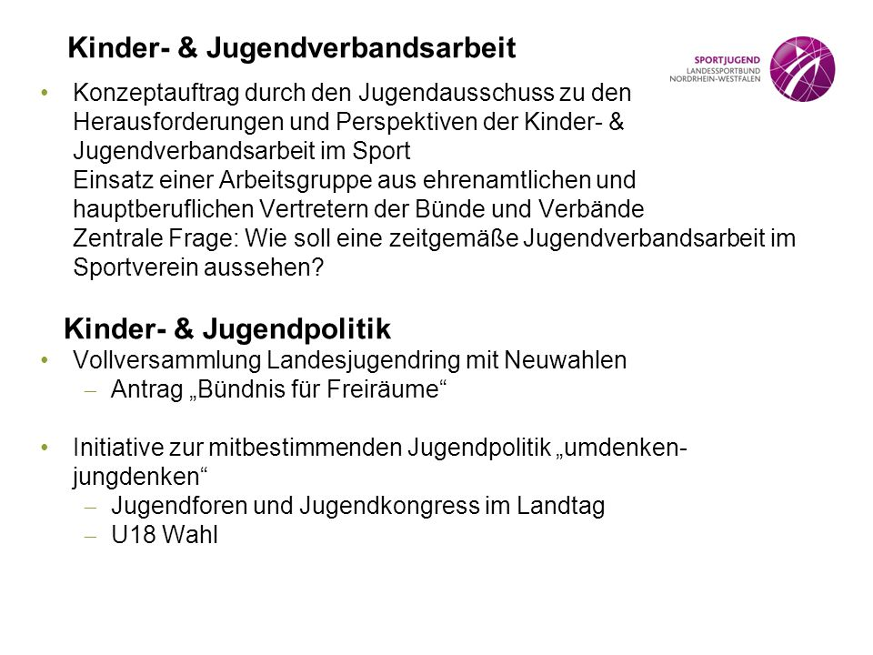 Kinder- & Jugendverbandsarbeit