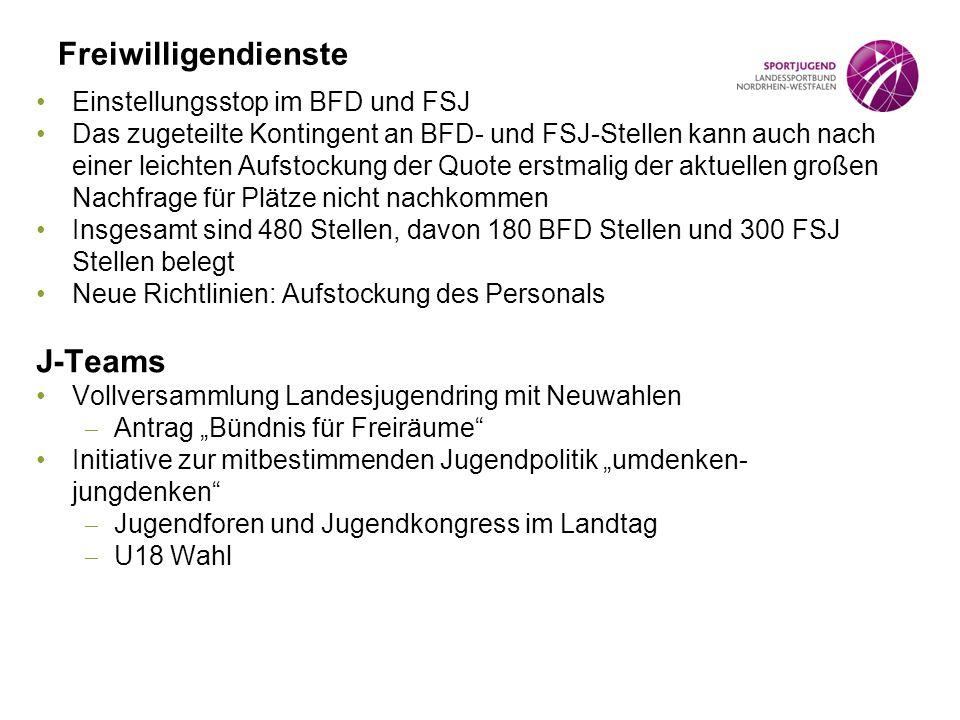 Freiwilligendienste J-Teams Einstellungsstop im BFD und FSJ