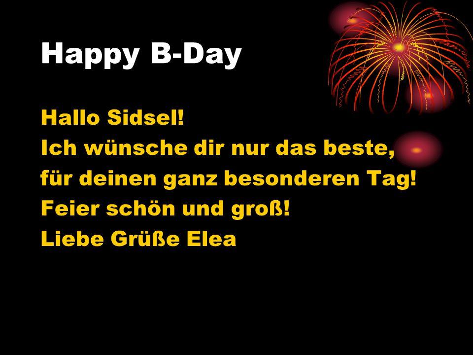 Happy B-Day Hallo Sidsel! Ich wünsche dir nur das beste,