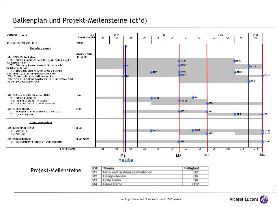 Balkenplan und Projekt-Meilensteine (ct'd)