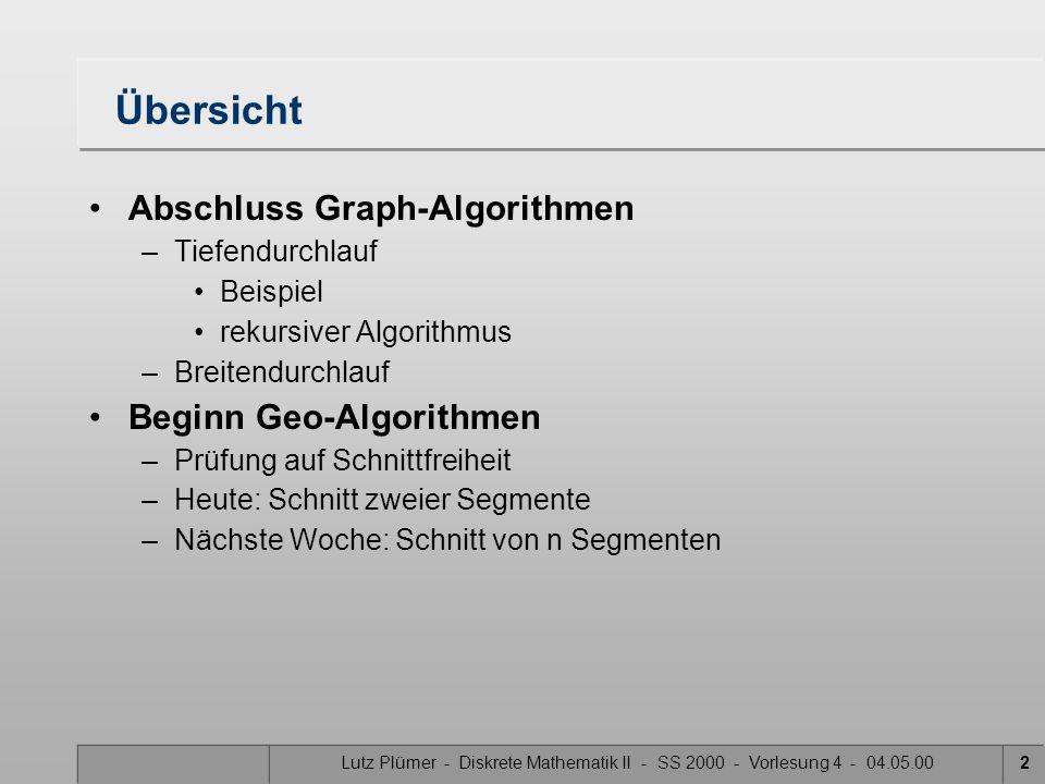 Übersicht Abschluss Graph-Algorithmen Beginn Geo-Algorithmen