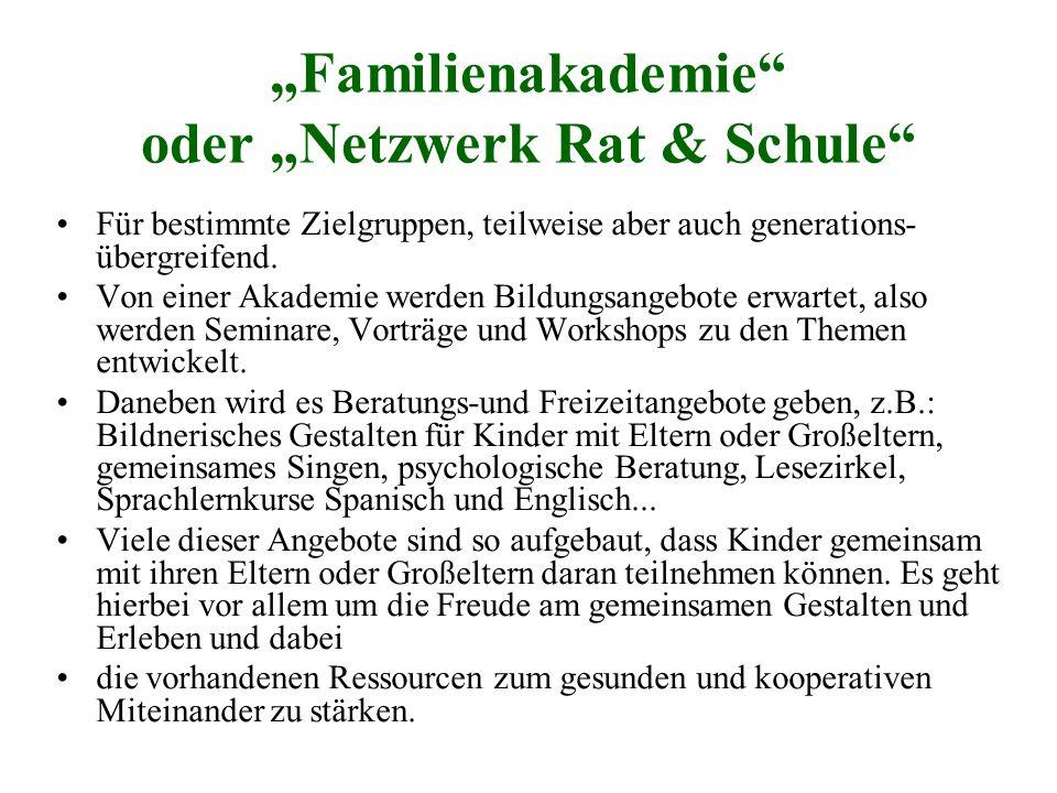 """Familienakademie oder ""Netzwerk Rat & Schule"