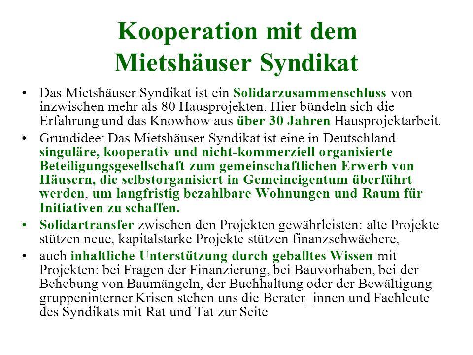 Kooperation mit dem Mietshäuser Syndikat