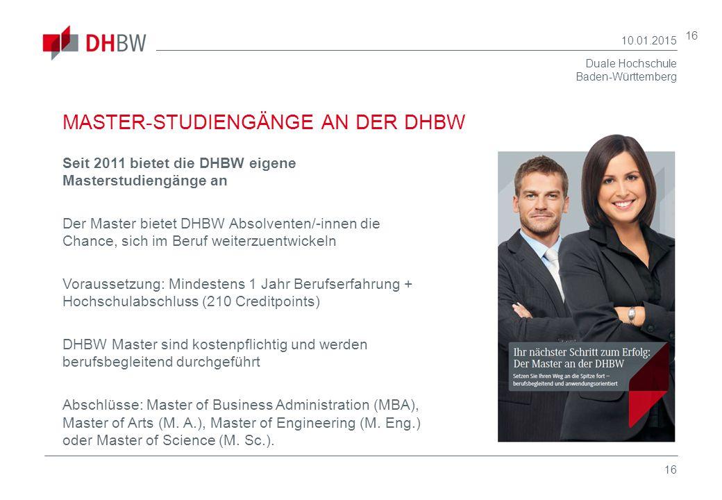 MASTER-STUDIENGÄNGE AN DER DHBW