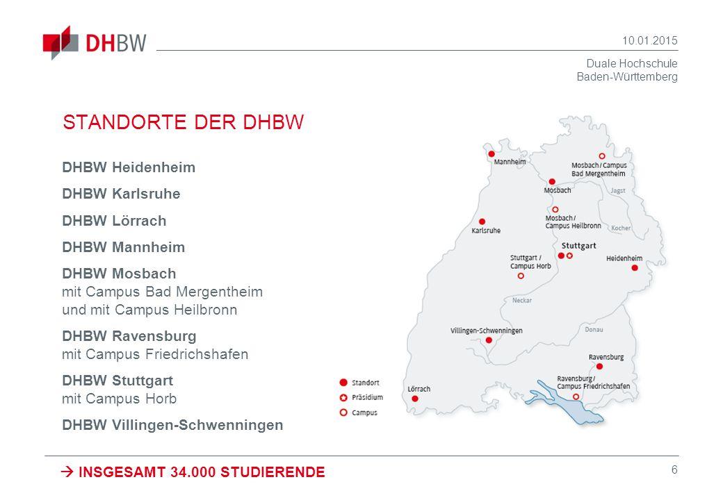 STANDORTE DER DHBW DHBW Heidenheim DHBW Karlsruhe DHBW Lörrach