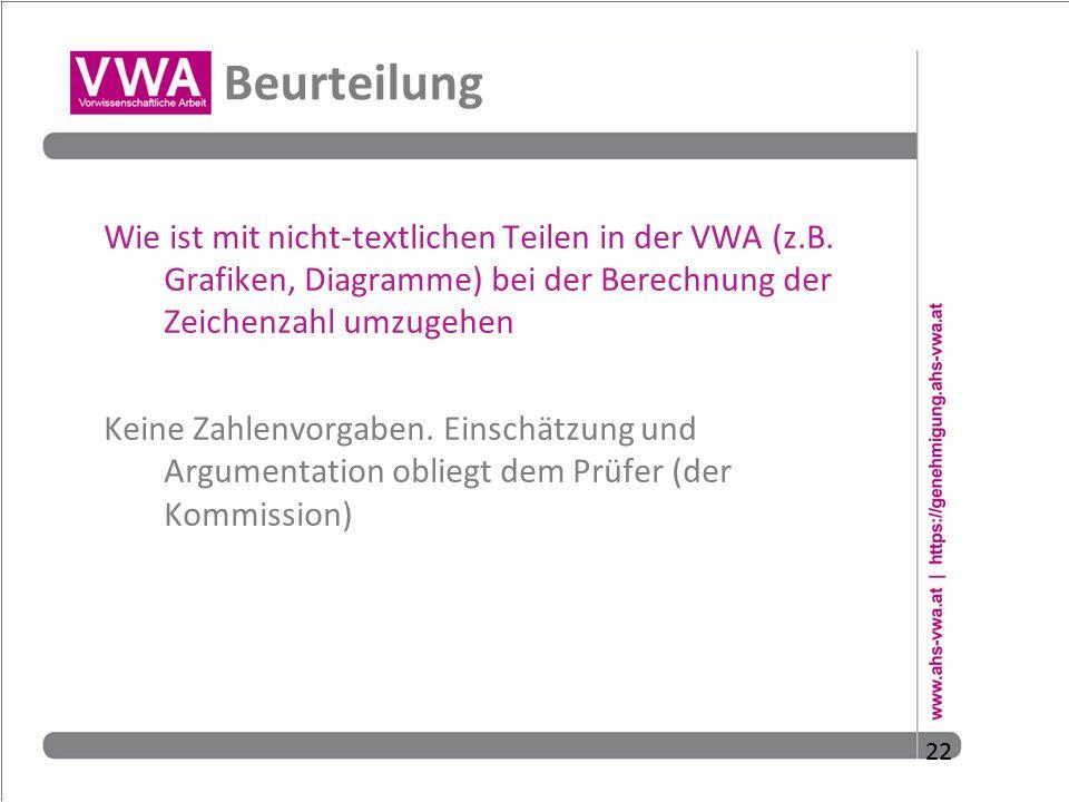 Beurteilung Wie ist mit nicht-textlichen Teilen in der VWA (z.B. Grafiken, Diagramme) bei der Berechnung der Zeichenzahl umzugehen.