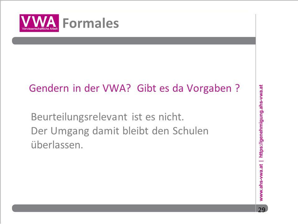 Formales Gendern in der VWA Gibt es da Vorgaben