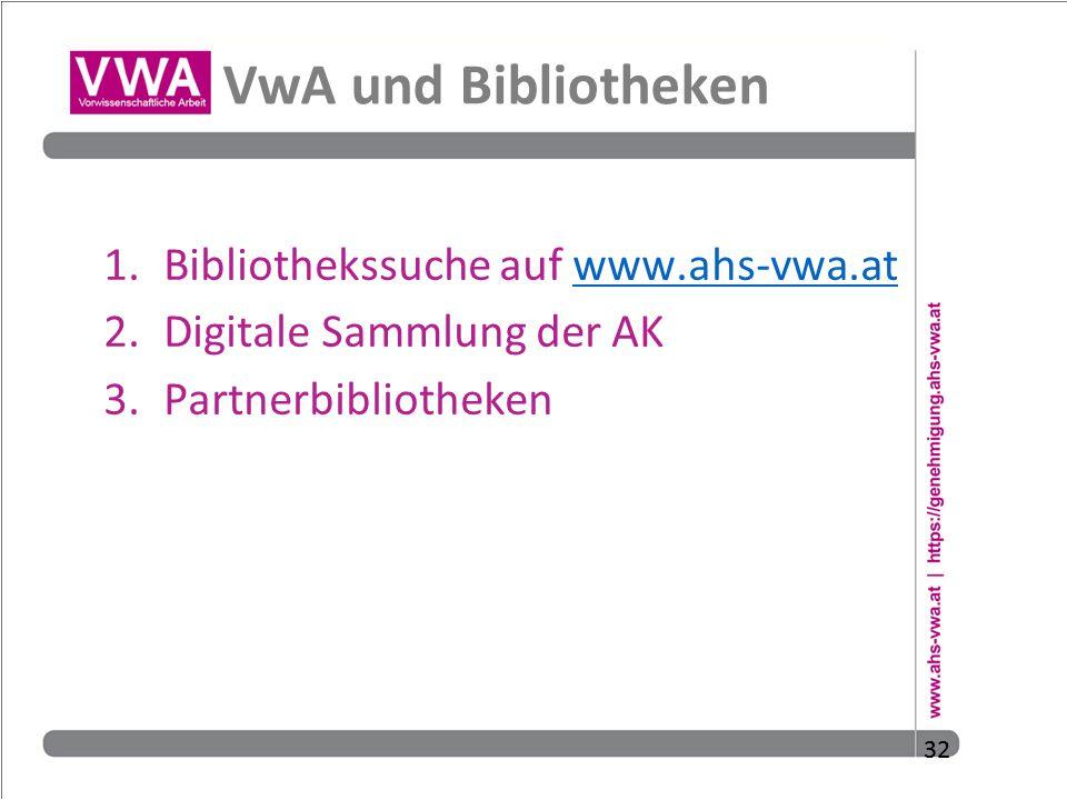 VwA und Bibliotheken Bibliothekssuche auf www.ahs-vwa.at