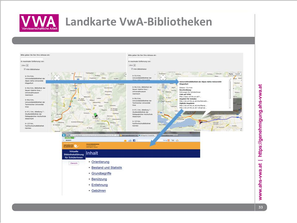 Landkarte VwA-Bibliotheken