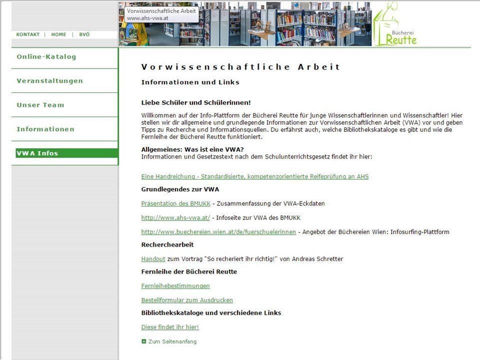 Projektpartner Auswahl: Bücherei Reutte